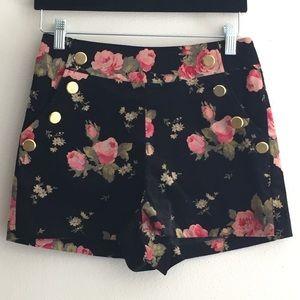Ark & Co Floral Velvet High-Waisted Shorts